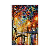 Lonliness Autumn By Leonid Afremov Oil Painting Re-printed on Framed Canvas Wall Art Prints Home Decoration Pictures Room Deco Photo-Front
