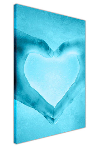 Blue Love Hands on Framed Canvas Wall Art Prints Room Deco Poster Photo Landscape Pictures Home Decoration Artwork-3D