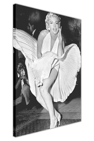 Iconic Photo of Marilyn Monroe Over Subway on Framed Canvas Wall Art ...