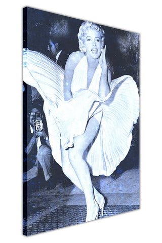 Blue Iconic Photo of Marilyn Monroe Over Subway on Framed Canvas Wall Art Prints Pictures Celebrity Images Famous People-3D