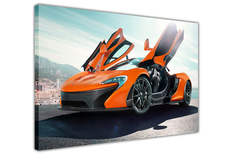 Orange Mc Laren P1 Super Car on Framed Canvas Wall Art Prints Movie Pictures TV photos Home Decoration Room Deco Posters-3D