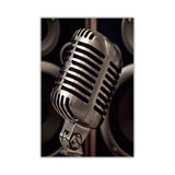 Microphone and speackers on Framed Canvas Wall Art Pictures Music Prints photos Home Decoration Room Deco Posters-Front