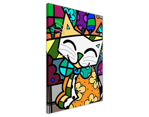 Midnight Cat By Romero Brito Oil Painting Re-printed on Framed Canvas Wall Art Prints Home Decoration Pictures Room Deco Photo-3D
