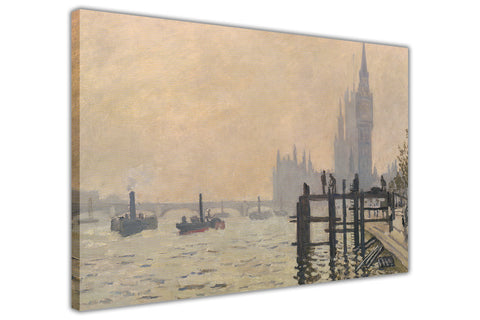 The Thames below Westminster By Claude Monet Canvas Wall Print Famous Artwork For Livingroom Bedroom Office Art Pictures Framed