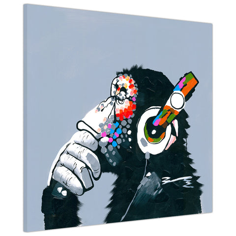 Monkey with headphones on Framed Canvas Wall Pitures Art For The Bedroom Livingroom home Office Animal Prints Kids Children-3D