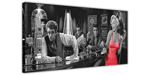 Black and White Marilyn Monroe Elvis James Dean Humphrey Bogart in a Bar on Framed Canvas Wall Art Prints Pictures Celebrity Images Famous People-3D