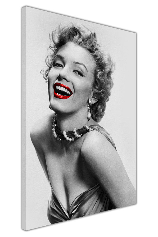 Black and white marilyn monroe photo with red lips on framed canvas wall art prints pictures