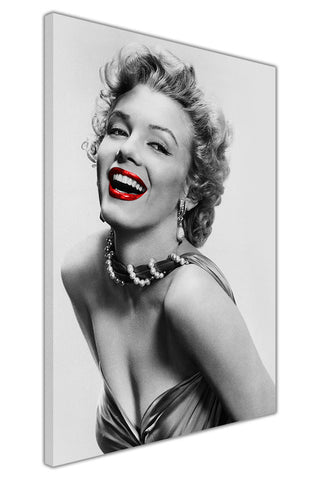 Black and White Marilyn Monroe Photo With Red Lips on Framed Canvas Wall Art Prints Pictures Celebrity Images Famous People-3D