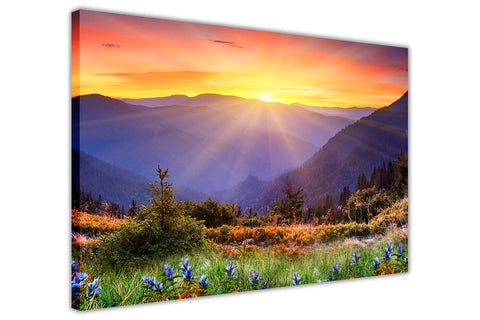 Mountain Sunrise on Framed Canvas Wall Art Prints Room Deco Poster Photo Landscape Pictures Home Decoration Artwork-3D