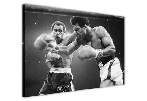 Black and White Muhammad Ali Vs Ken Norton on Framed Canvas Wall Art Prints Pictures Celebrity Images Famous People-3D