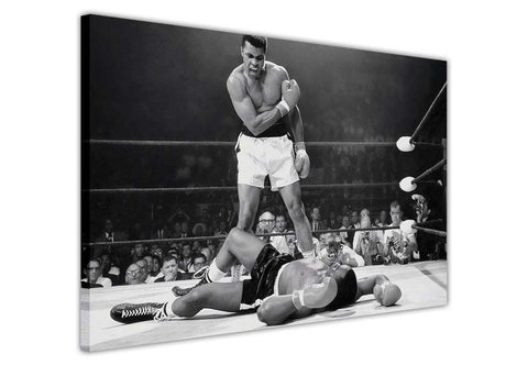 Iconic Black and White Muhammad Ali Knock Out photo on Canvas Wall Art Prints Framed Pictures Home Decoration Celebrity Photos Room Deco Famous People-3D