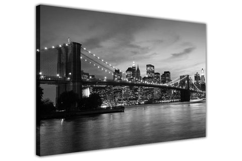 Black and White New York City Bridge on Framed Canvas Wall Art Prints Pictures City Images Landmarks-3D