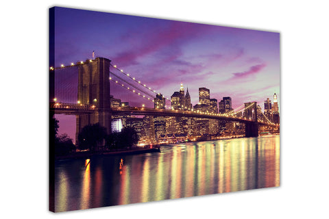 New York City Bridge on Framed Canvas Wall Art Prints Pictures City Images Landmarks-3D