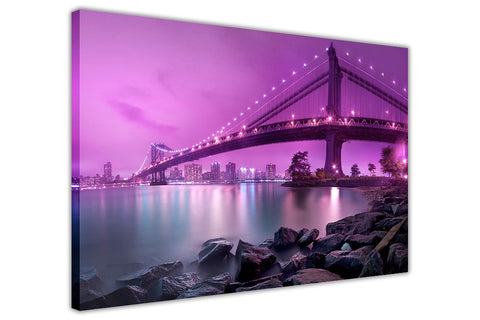 Abstract Purple Canvas Wall Art Prints Iconic Manhattan Bridge In New York Pictures Room Decoration Poster Print Landmarks-3D