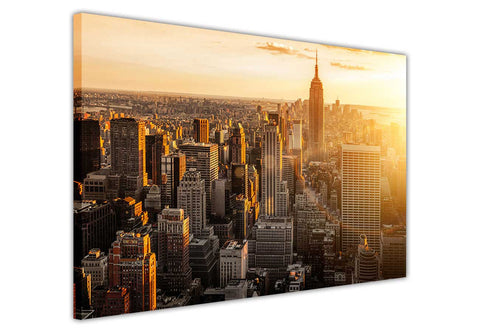 New York Aerial View at dusk on Framed Canvas Wall Art Prints Pictures City Images Landmarks-3D