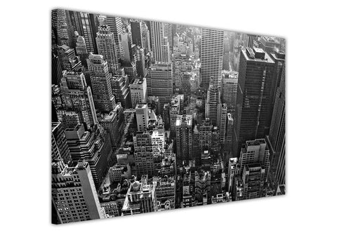 Canvas Wall Art Prints New York City Black And White Aerial View Skyline Pictures Room Decoration Poster Print Picture Landmarks-3D