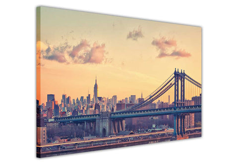 Canvas Wall Art Prints New York City Iconic Manhattan Bridge At Dawn Pictures Room Decoration Poster Print Picture Landmarks-3D