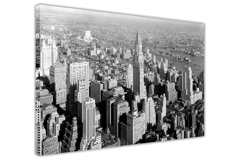 Nostalgic 1930s New York City Skyscrapers Black And White Pictures Framed Canvas Prints Wall Art-3D