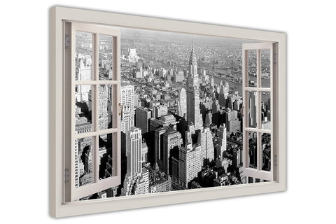 Black and White 1930 New York City 3D Window Bay View on Framed Canvas Wall Art Prints Movie Pictures TV photos Home Decoration Room Deco Posters-3D