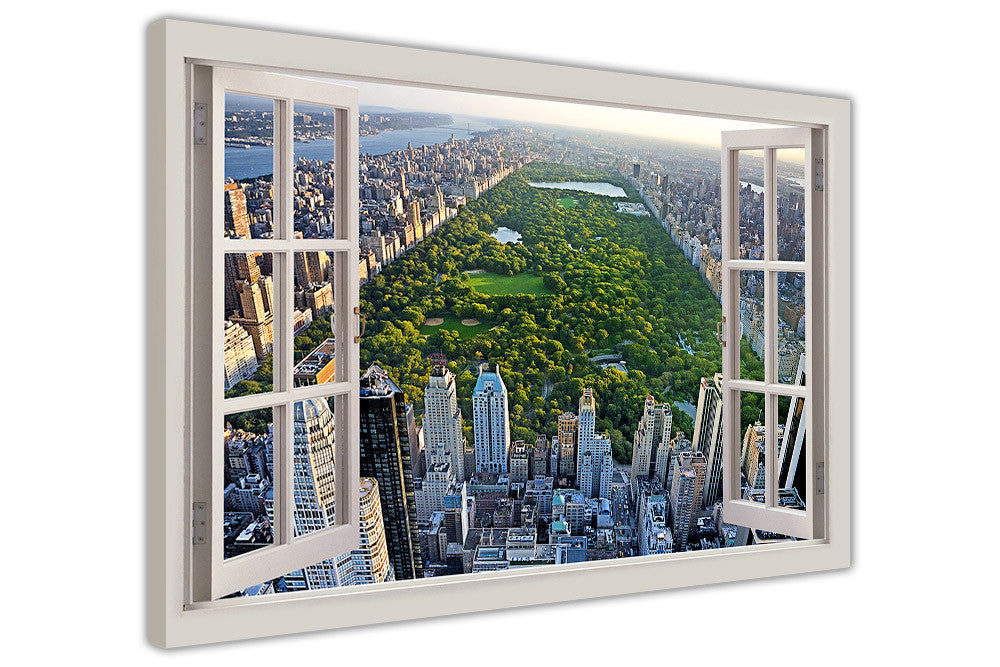 New York City Canvas Wall Art central park in new york city 3d window view effect on framed