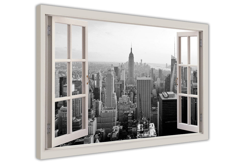 Black and White New York City on Framed Canvas Wall Art Prints Movie ...