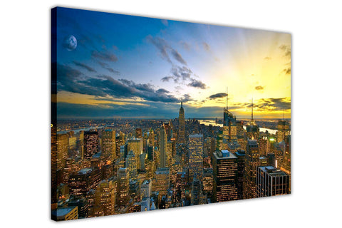 Sunset Over New York City Skyscrapers Framed Prints Canvas Pictures Wall Art Photos Modern Art-3D