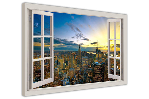 Sunset Over New York City 3D Window View Effect printed on Framed Canvas Wall Art Prints Home Decoration Pictures Room Deco Photo-3D