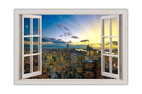 Sunset Over New York 3d Window Bay View On Framed Canvas Art Picture