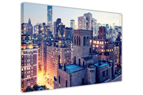 Building Top View New York Manhattan Canvas Wall Art Prints Framed Pictures Home Deco Poster-3D