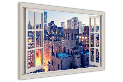 New York City Manhattan 3D Window Bay Effect on Canvas Wall Art Pictures Home Decoration Framed Prints Canvas It Up 3D