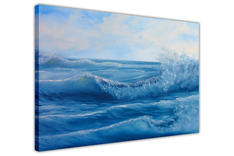 Beautiful Blue Ocean Waves on Framed Canvas Wall Art Prints Floral Pictures Home Decoration Room Deco Poster Photo Artwork-3D