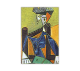 Woman On Chair by Pablo Picasso Oil Painting Re-printed on Framed Canvas Wall Art Prints Home Decoration Pictures Room Deco Photo-Front