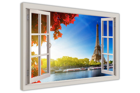 Eiffel Tower in Paris During Autumn 3D Window Bay Effect on Framed Canvas Wall Art Prints Pictures Home Decoration Room Deco Poster Photo Artwork-3D