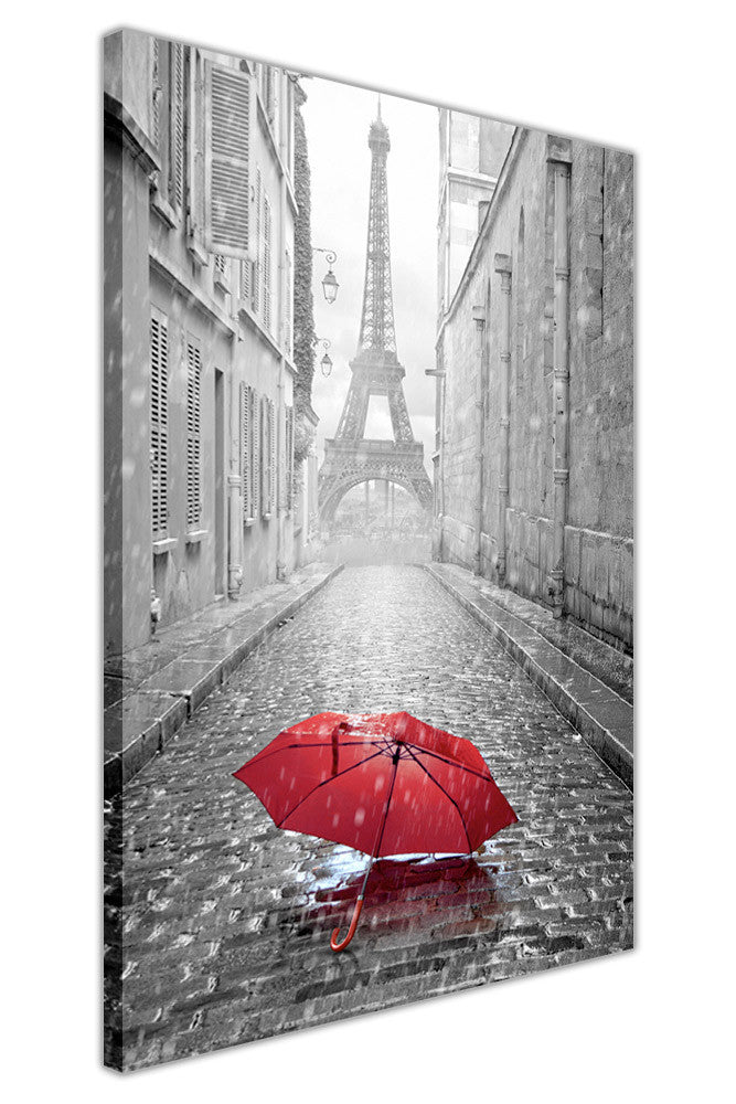 Black and White Eiffel Tower in Paris with Red Umbrella on