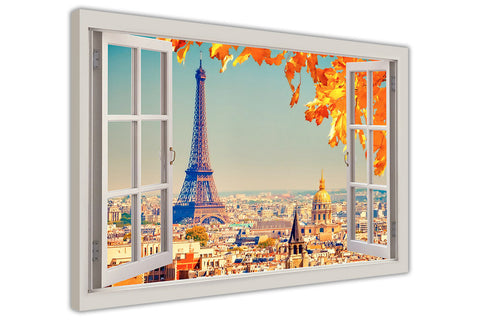 Eiffel Tower in Paris During Sunshine 3D Window Bay Effect on Framed Canvas Wall Art Prints Pictures Home Decoration Room Deco Poster Photo Artwork-3D
