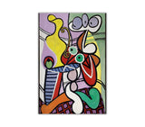 Great Still Life On Pedestal by Pablo Picasso Re-printed on Framed Canvas Wall Art Prints Home Decoration Pictures Room Deco Photo-Front