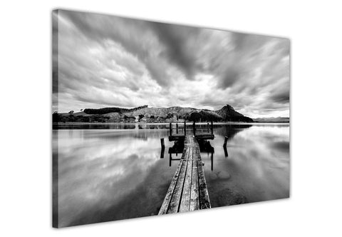 Black and White Pier on Lake Framed Canvas Wall Art Prints Landscape Pictures Home Decoration Room Deco Poster Photo Artwork-3D