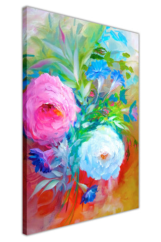 Pink White Flower Bouquet on Framed Canvas Wall Art Prints Floral Pictures Home Decoration Room Deco Poster Photo Artwork-3D