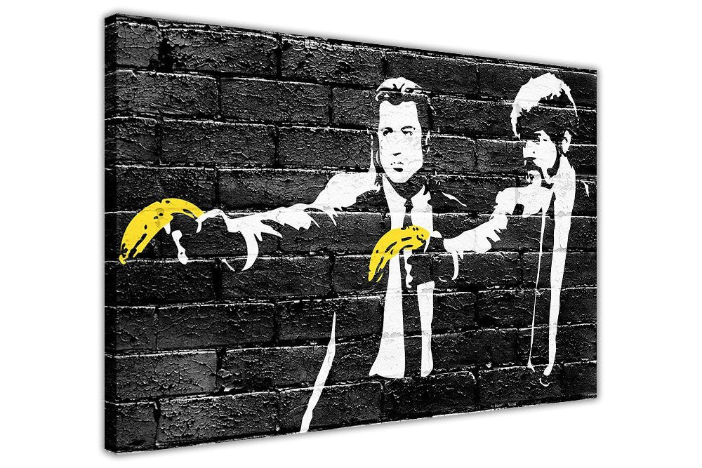Banksy Pulp Fiction Yellow Bananas Canvas Prints Wall Art Pictures ...