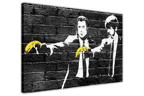 Banksy Pulp Fiction Yellow Bananas Canvas Prints Wall Art Pictures Room Decoration