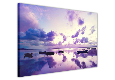 Purple Sunset and Boats on Framed Canvas Wall Art Prints Room Deco Poster Photo Landscape Pictures Home Decoration Artwork-3D