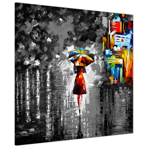 Black and white Rain Princess By Leonid Afremov Canvas print Wall Art Pictures for Living Room Bedroom Office Home Decoration Oil Painting Re-print-3D