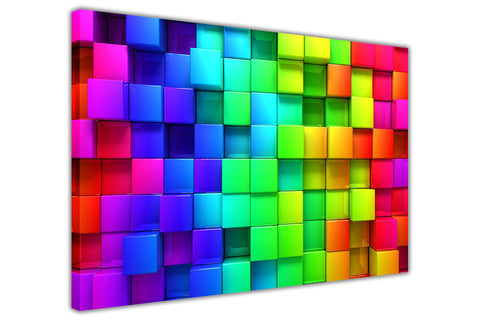 Abstract Rainbow Blocks on Framed Canvas Wall Art Prints Floral Pictures Home Decoration Room Deco Poster Photo Artwork-3D