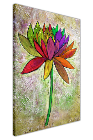 Oil Painting Rainbow Colour Flower Re-printed on Framed Canvas Wall Art Prints Home Decoration Pictures Room Deco Photo-3D