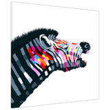 Rainbow coloured howling zebra on Canvas Wall Art Pictures Animal Prints for Living Room Decoration Bedroom Office Home Photos Artwork Children Kids-3D