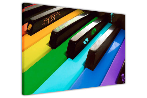 Piano With Rainbow Coloured Keys on Framed Canvas Wall Art Pictures Music Prints photos Home Decoration Room Deco Posters-3D