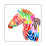 Rainbow coloured zebra on Framed Canvas Wall Pitures Art For The Bedroom Livingroom home Office Animal Prints Kids Children-Front