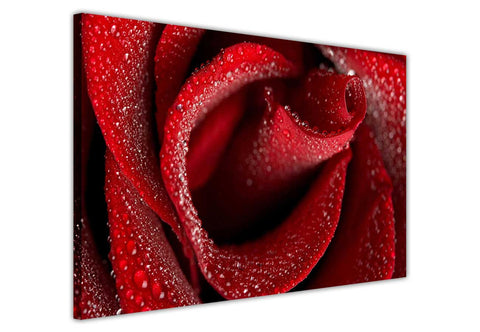 Red Rose With Water Drops on Framed Canvas Wall Art Prints Floral Pictures Home Decoration Room Deco Poster Photo Artwork-3D