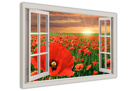 Red Poppy Field 3D Window Bay View on framed canvas prints wall art pictures posters home decoration artowork-3D
