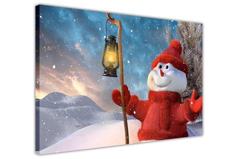 Christmas Red Snowman on Framed Canvas Wall Art Prints Floral Pictures Home Decoration Room Deco Poster Photo Artwork-3D